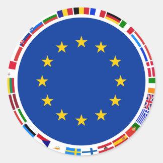 European Union Flags Round Sticker