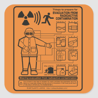 EVACUATION FROM RADIOACTIVE CONTAMINATION SQUARE STICKER