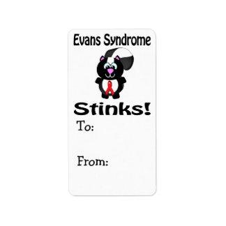 Evans Syndrome Stinks Skunk Awareness Design Address Label