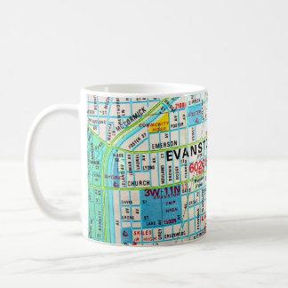 EVANSTON, IL Vintage Map Basic White Mug