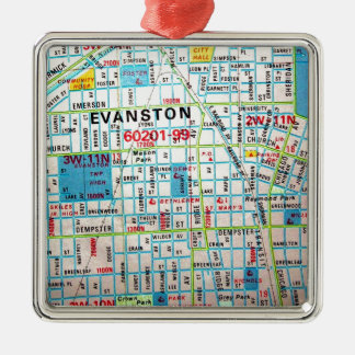 EVANSTON, IL Vintage Map Christmas Ornament