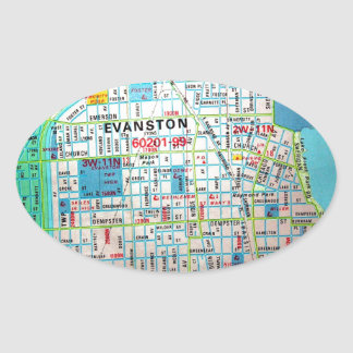 EVANSTON, IL Vintage Map Oval Sticker