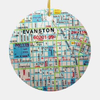 EVANSTON, IL Vintage Map Round Ceramic Decoration