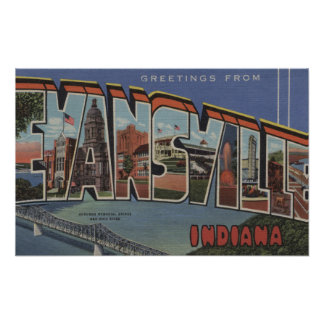 Evansville, Indiana - Large Letter Scenes Poster