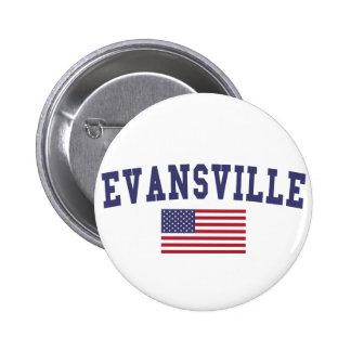Evansville US Flag 6 Cm Round Badge