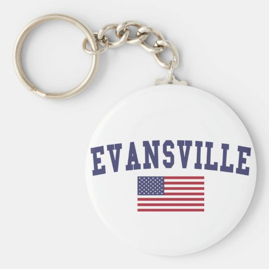 Evansville US Flag Basic Round Button Key Ring