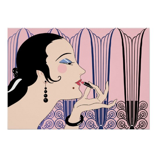 Eve, Art Deco Lady in Pink and Blue