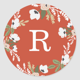 Evelyn Floral Classic Round Sticker