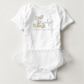 Evelyn girls name meaning E monogram hearts Baby Bodysuit