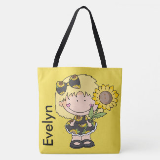Evelyn's Personalized Sunflower Tote Bag