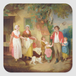 Evening, 1799 (oil on canvas) square sticker