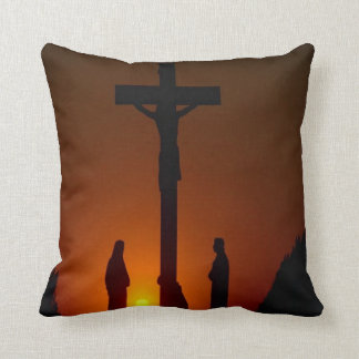 Evening At The Crucifixion Cross Cushion