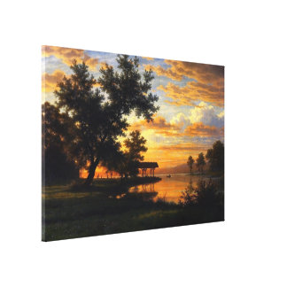 Evening at the Lake | Landscape Oil Painting Stretched Canvas Print