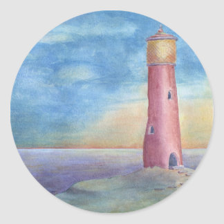 Evening AT the lighthouse Classic Round Sticker