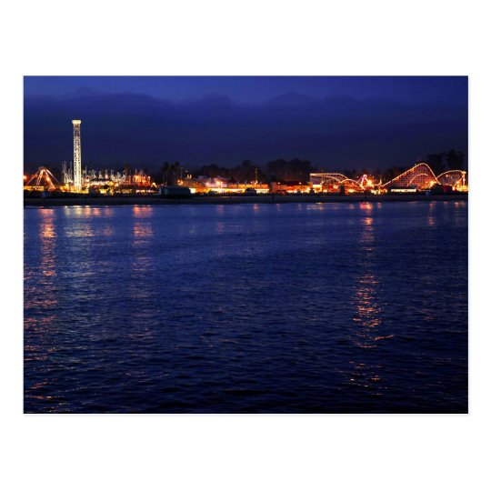 Evening at the Santa Cruz Boardwalk Postcard