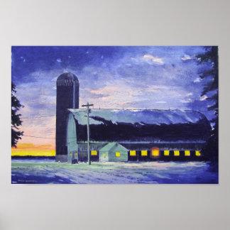Evening Barn Sunset-poster Poster