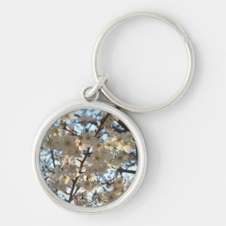 Evening Cherry Blossoms I Flowering Spring Tree Silver-Colored Round Keychain