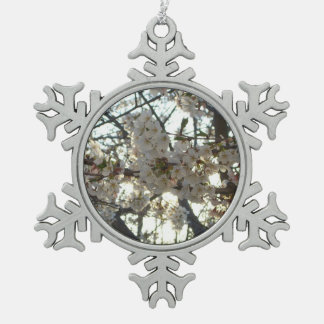 Evening Cherry Blossoms II Flowering Spring Tree Pewter Snowflake Decoration