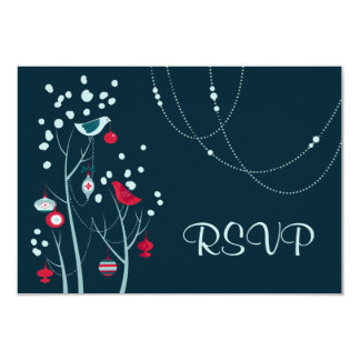 Evening Christmas Winter Birds Wedding RSVP Cards