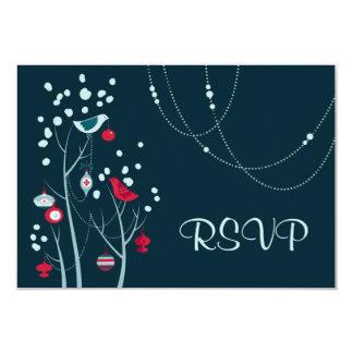 Evening Christmas Winter Birds Wedding RSVP Cards 9 Cm X 13 Cm Invitation Card