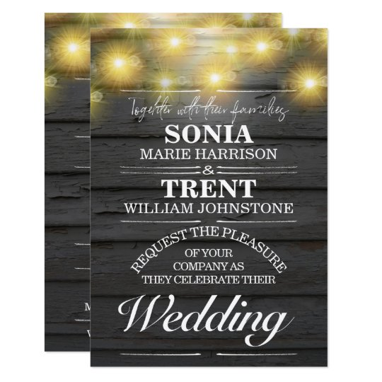 Evening Country Rustic Weatherboards Wedding Card