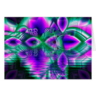 Evening Crystal Primrose, Abstract Night Flowers Greeting Card