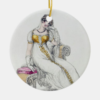 Evening dress or wedding dress, fashion plate from round ceramic decoration