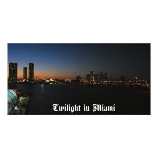 Evening Falls on Miami Photo Card Template