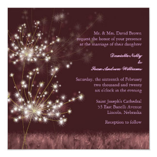 Evening Garden Dandelions Floral Wedding 13 Cm X 13 Cm Square Invitation Card