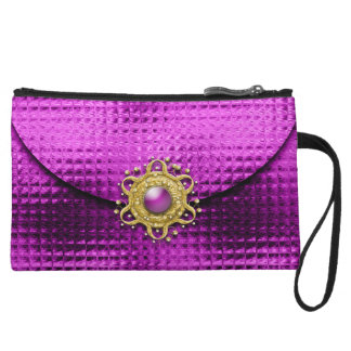 Evening glitter pink jewel wristlet