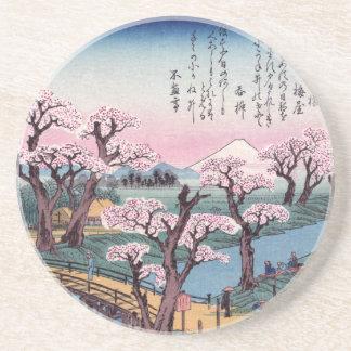 Evening Glow at Koganei Bridge, Ando Hiroshige Beverage Coasters