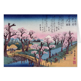 Evening Glow at Koganei Bridge, Ando Hiroshige Card