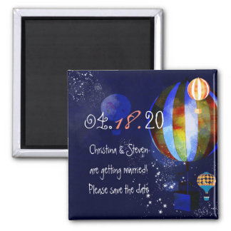 Evening Hot Air Balloons Hip Wedding Save the Date Square Magnet