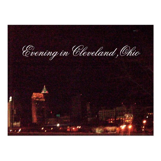 EVENING IN CLEVELAND, OHIO postcard