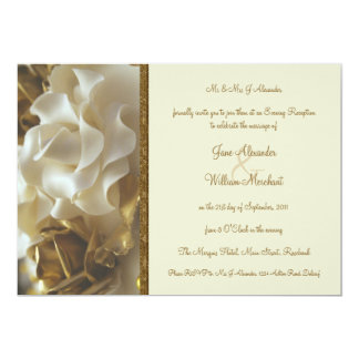 Evening Invitation Gold & Ivory Wedding Cake Roses