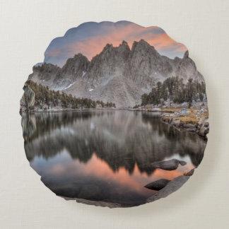 Evening Kearsarge Pinnacles Reflections Round Cushion