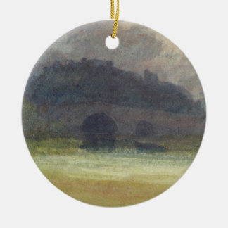 Evening Landscape with Castle and Bridge in Yorksh Christmas Ornament