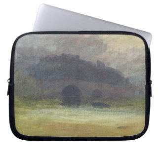 Evening Landscape with Castle and Bridge in Yorksh Laptop Sleeve
