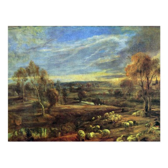 Evening Landscape With Shepherd And Flock Postcard