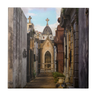Evening Light In Recoleta Cemetery Small Square Tile