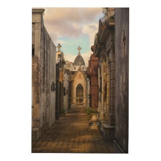 Evening Light In Recoleta Cemetery Wood Print