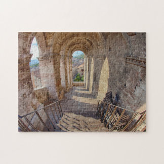 Evening Light on Flower covered Buildings Jigsaw Puzzle