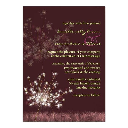 Evening Meadow Dandelions Burgundy Wedding Card