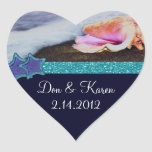 Evening On The Beach Heart Favour Heart Stickers