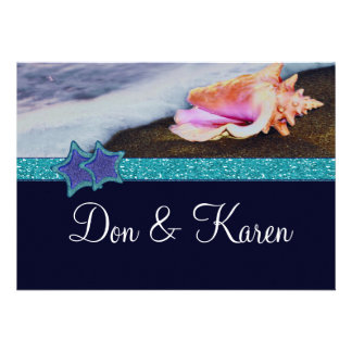 Evening On The Beach Size A7 Personalized Invites