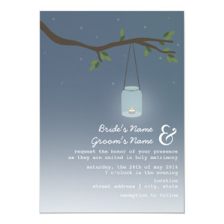 Evening Outdoor Wedding - Mason Jar With Candle 13 Cm X 18 Cm Invitation Card