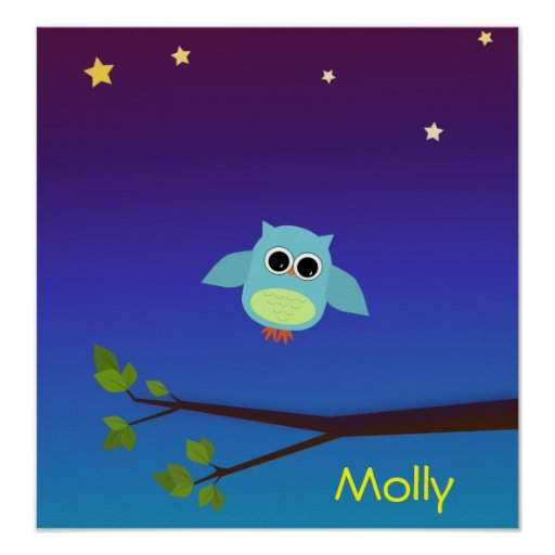 Evening Owl in Flight personalized poster