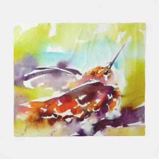 """Evening Perch"" Hummingbird Print Fleece Blanket"
