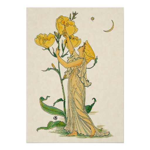 Evening Primrose by Walter Crane, 1889 Poster