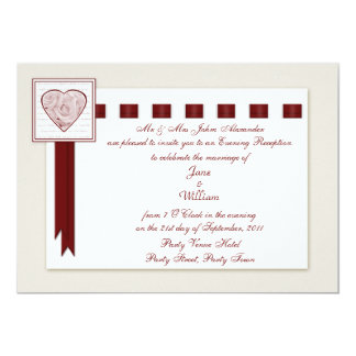 Evening Reception Love Heart and Roses with Ribbon 13 Cm X 18 Cm Invitation Card